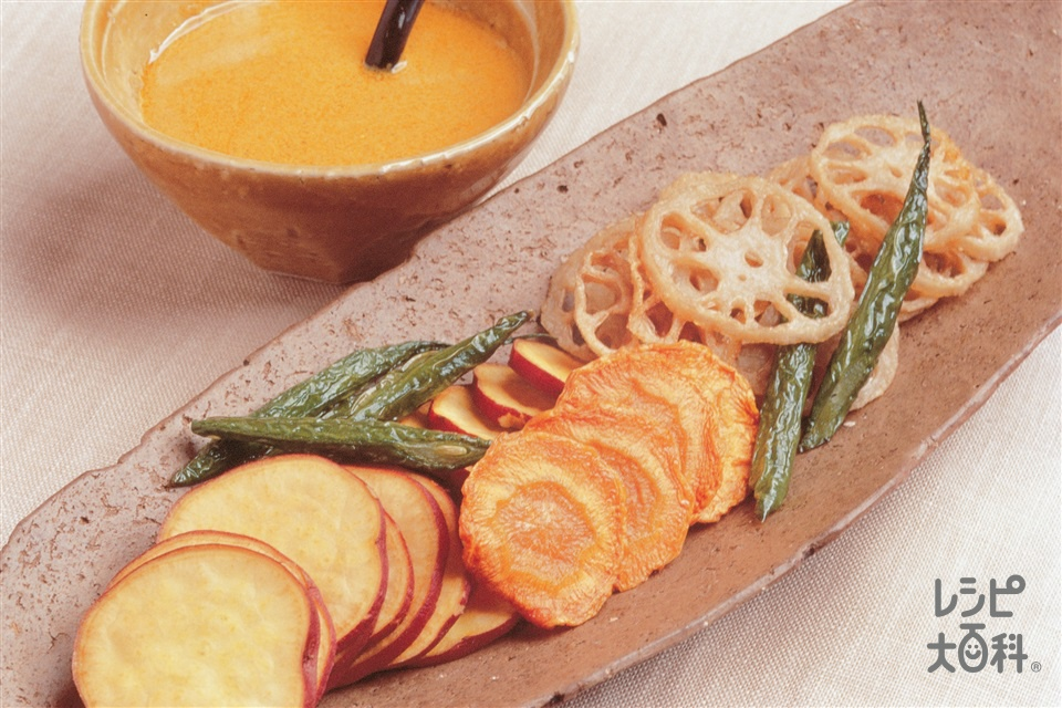 揚げ根菜のカレーソース(れんこん+さつまいもを使ったレシピ)
