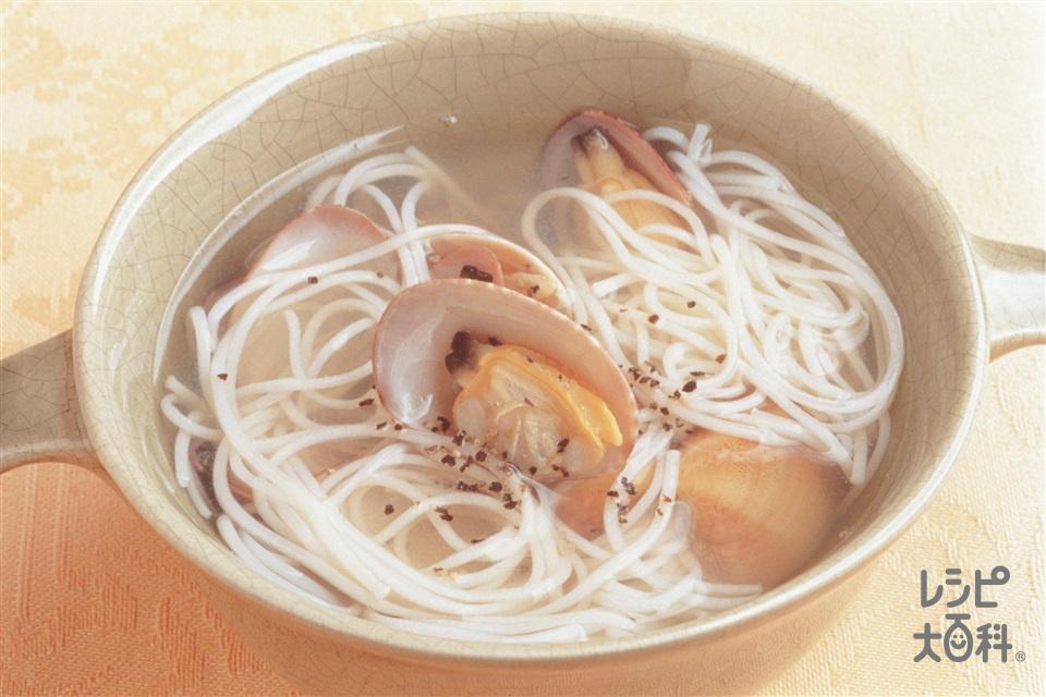 あさりとそうめんのスープ(あさり+そうめんを使ったレシピ)