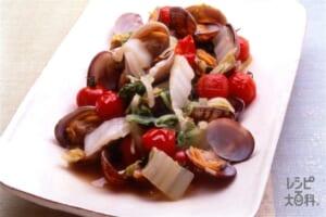 白菜とあさり、プチトマトの蒸し煮(ミニトマト+あさり(殻つき)を使ったレシピ)