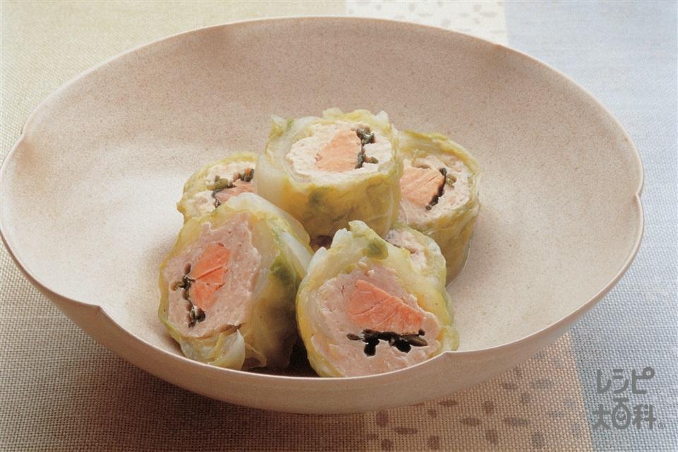 鶏ひき肉とさけの白菜ロール蒸し(白菜+鶏ひき肉を使ったレシピ)