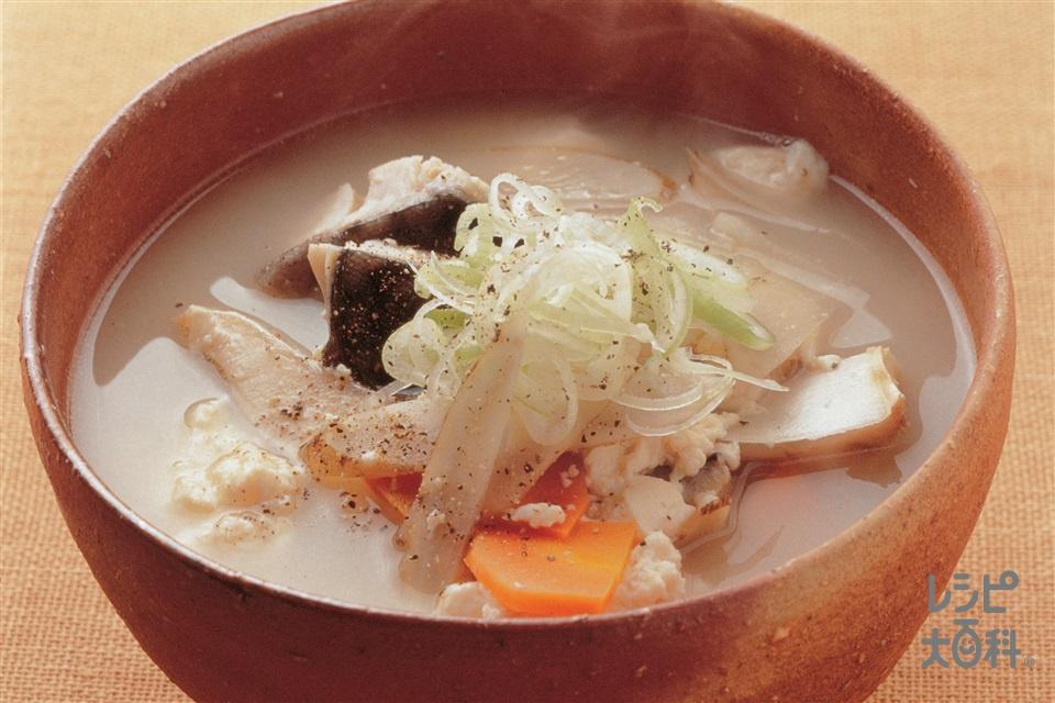 塩さば入りけんちん汁(塩さば+木綿豆腐を使ったレシピ)