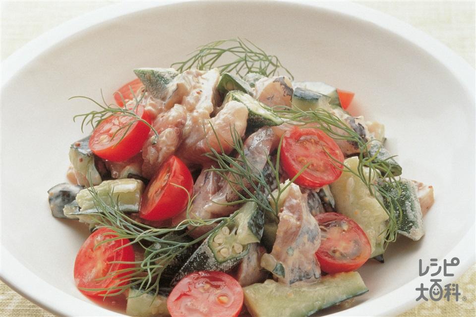 野菜たっぷりのあじの洋風たたき(あじ+ミニトマトを使ったレシピ)