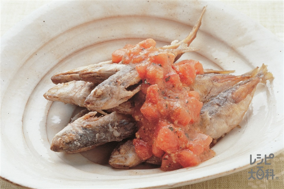 カラカラ小あじのトマトみそソース(小あじ+トマトを使ったレシピ)