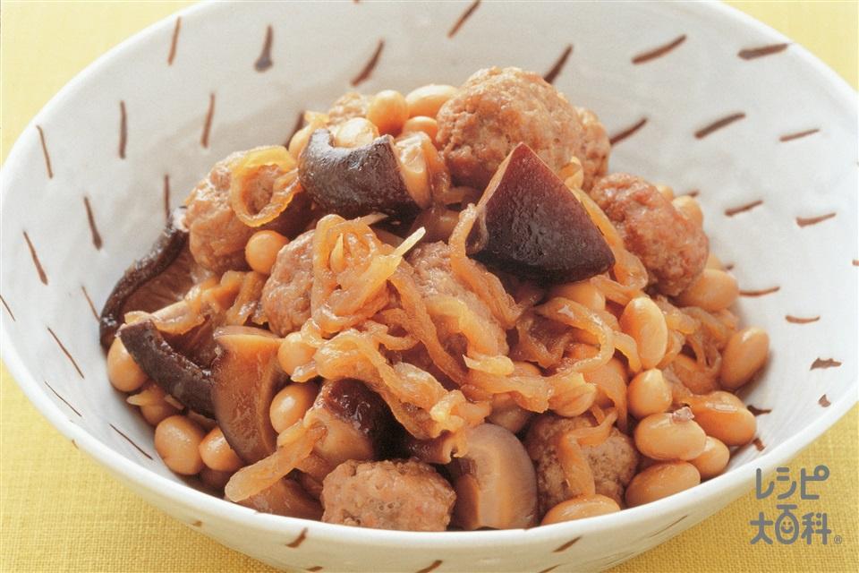 ミニ豚肉だんごと乾物の煮もの(豚ひき肉+大豆の水煮を使ったレシピ)