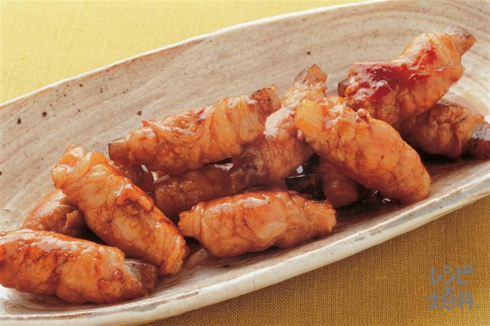 豚肉の長いもこんにゃく巻き照り焼き(豚ロース薄切り肉+こんにゃくを使ったレシピ)