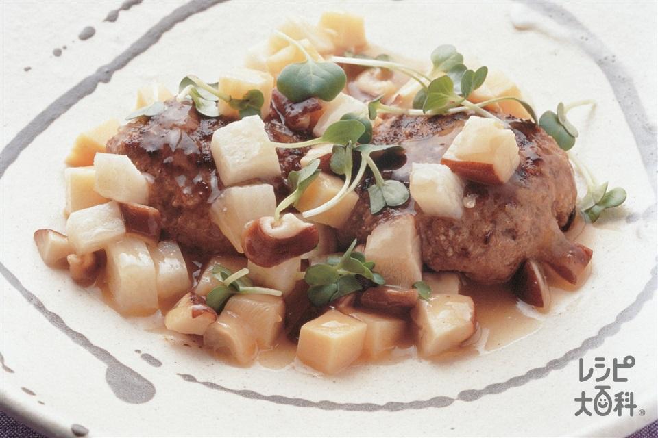 和風ハンバーグコロコロ野菜あん(牛ひき肉+ゆでたけのこを使ったレシピ)