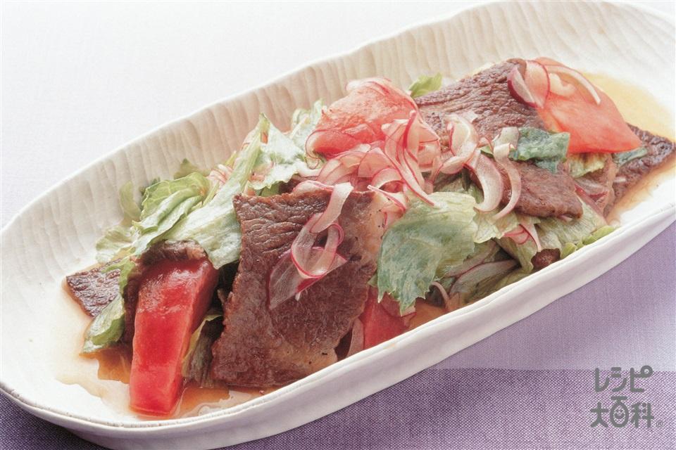 炒め牛肉のサラダマリネ(レタス+トマトを使ったレシピ)