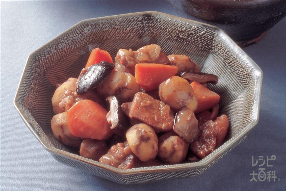 鶏肉と栗の中国風煮(鶏もも肉+にんじんを使ったレシピ)