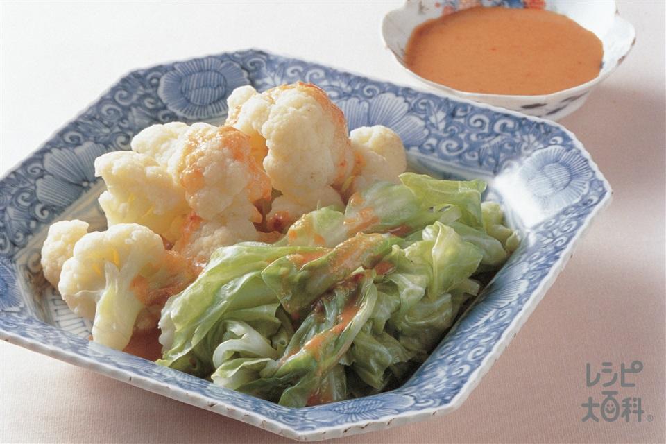 ピリ辛ごまダレの温サラダ(カリフラワー+キャベツを使ったレシピ)