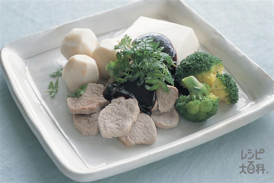 豆腐と豚肉の甜麺醤田楽(絹ごし豆腐+里いもを使ったレシピ)