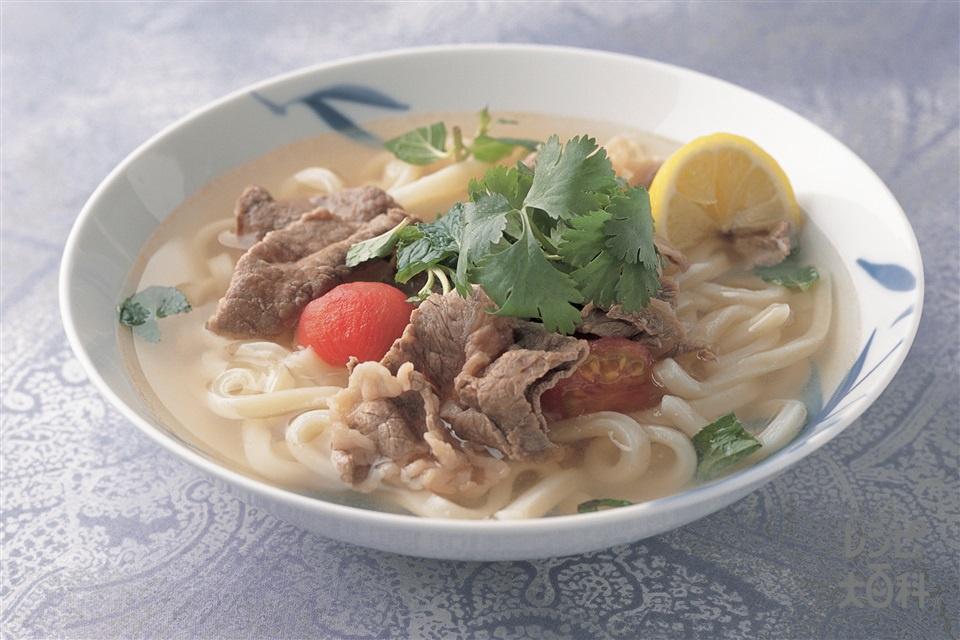 ベトナム風牛肉麺(牛もも薄切り肉+冷凍うどんを使ったレシピ)