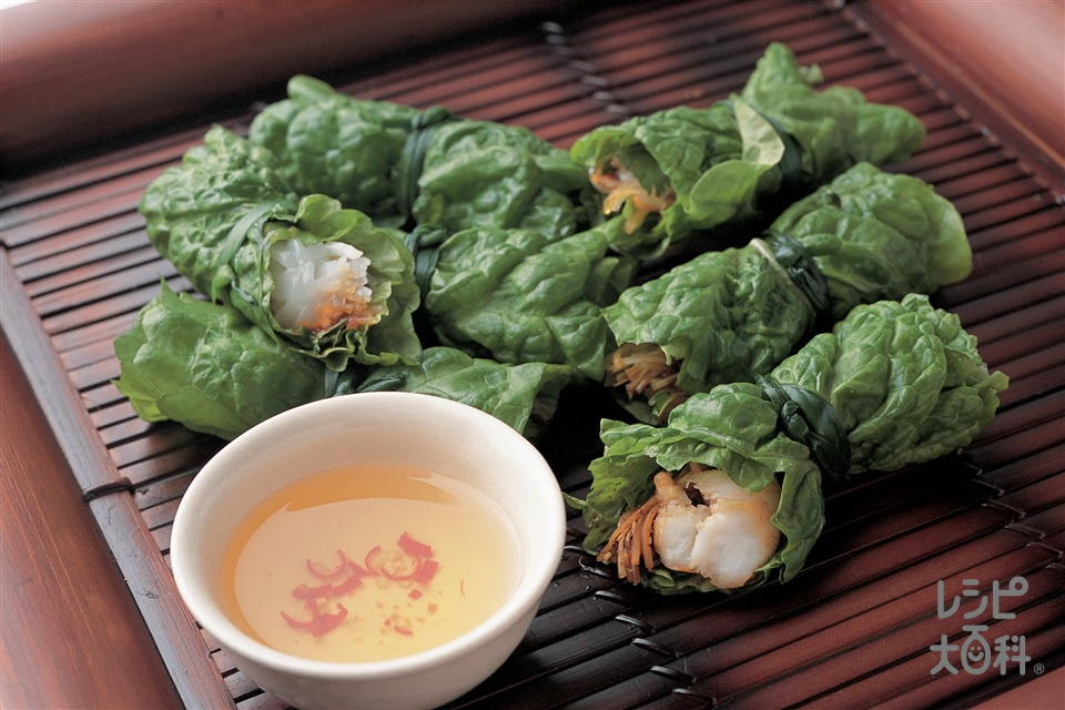 サンチュの生春巻き(サンチュ+えびを使ったレシピ)