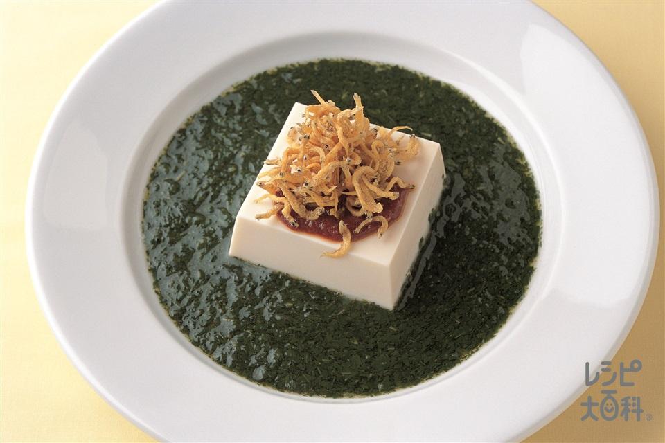 冷やっこのモロヘイヤ仕立て(モロヘイヤの葉+絹ごし豆腐を使ったレシピ)