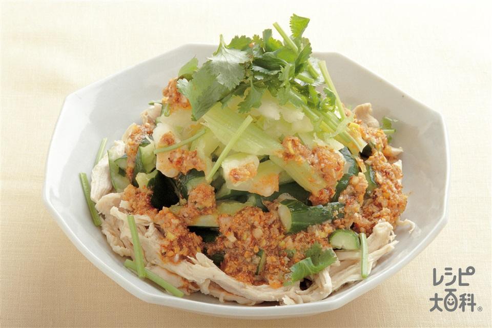 蒸し鶏とたたき野菜の中国風サラダ(鶏むね肉(皮なし)+きゅうりを使ったレシピ)