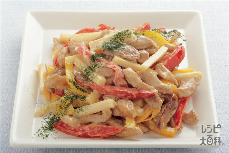 豚肉とパプリカのマヨネーズ炒め(豚もも赤身かたまり肉+パプリカ(赤)を使ったレシピ)