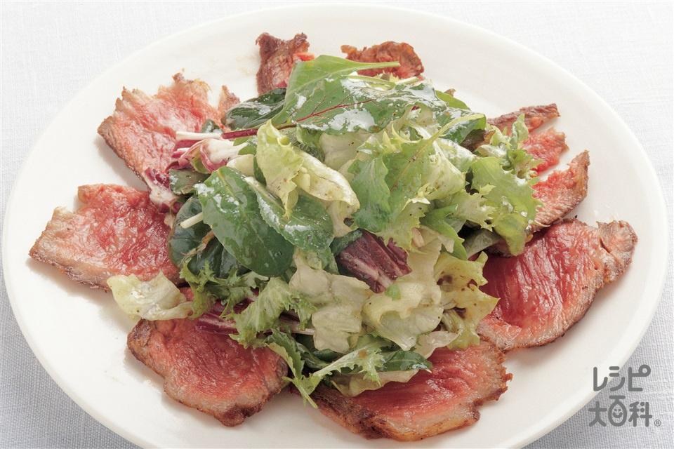 牛ステーキのたたき仕立て(牛かたまり肉+サニーレタスを使ったレシピ)