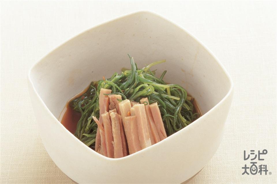 おかひじきの中国風おひたし(おかひじき+焼き豚を使ったレシピ)