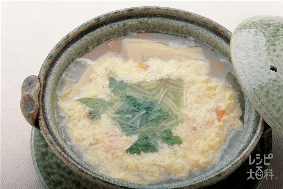 チキンコンソメ雑炊(ゆでたけのこ+ご飯を使ったレシピ)