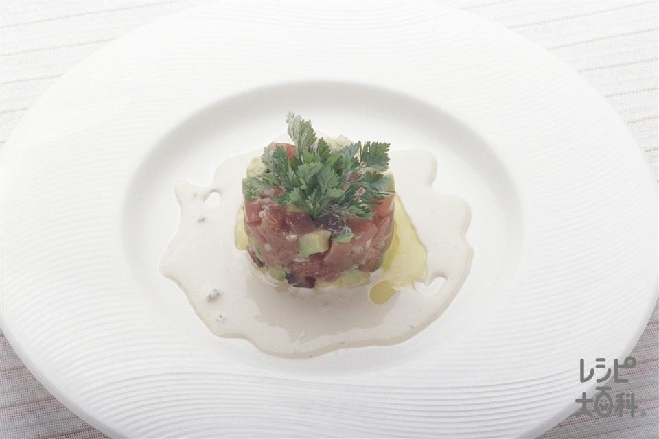 刺身のタルタル仕立て わさびマヨネーズ(かつお(刺身)+アボカドを使ったレシピ)