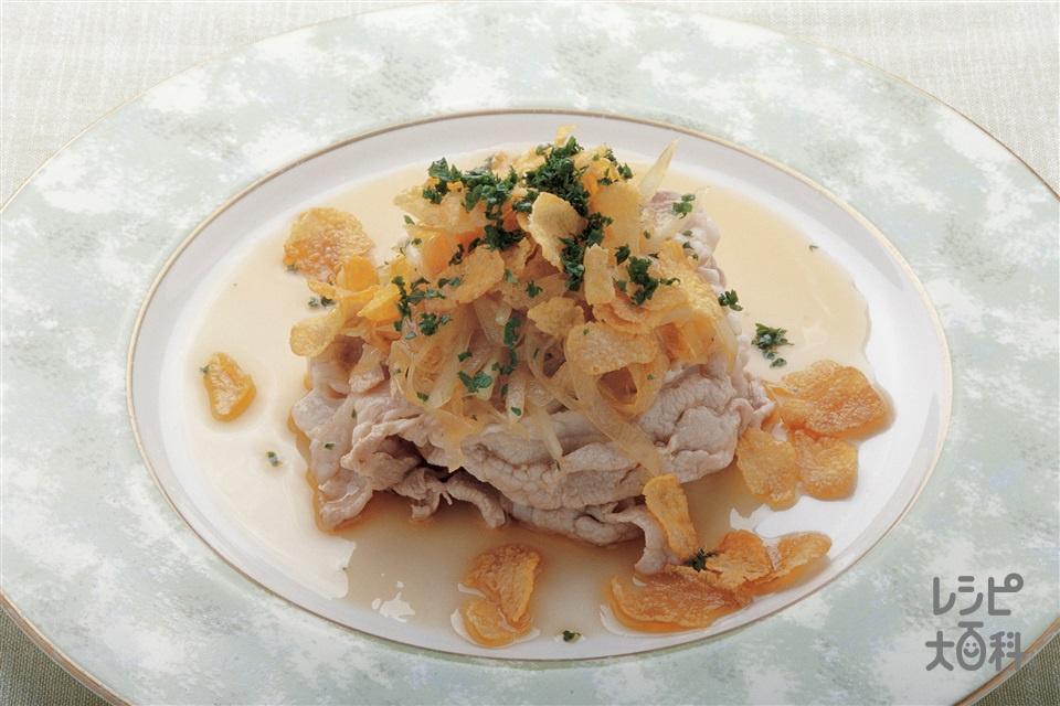 冷しゃぶのオニオンごま油ソースかけ(豚ロースしゃぶしゃぶ肉+玉ねぎを使ったレシピ)