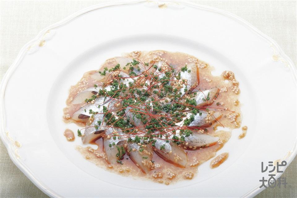 魚のカルパッチョ エスニック風(さより(刺身)+Aあさつきを使ったレシピ)