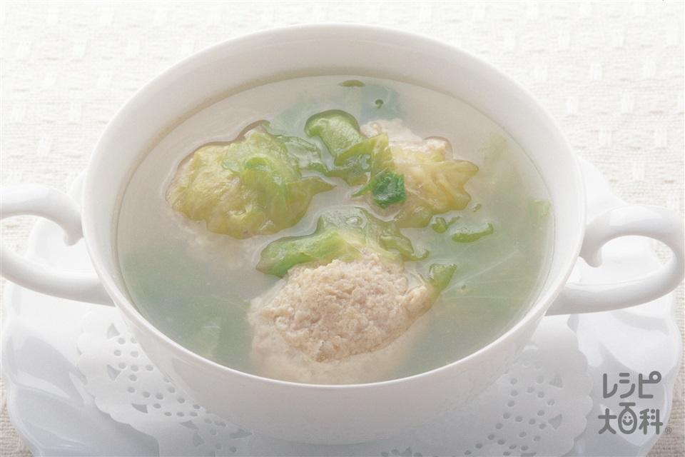 レタスとチキンボールのスープ(レタス+鶏ひき肉を使ったレシピ)