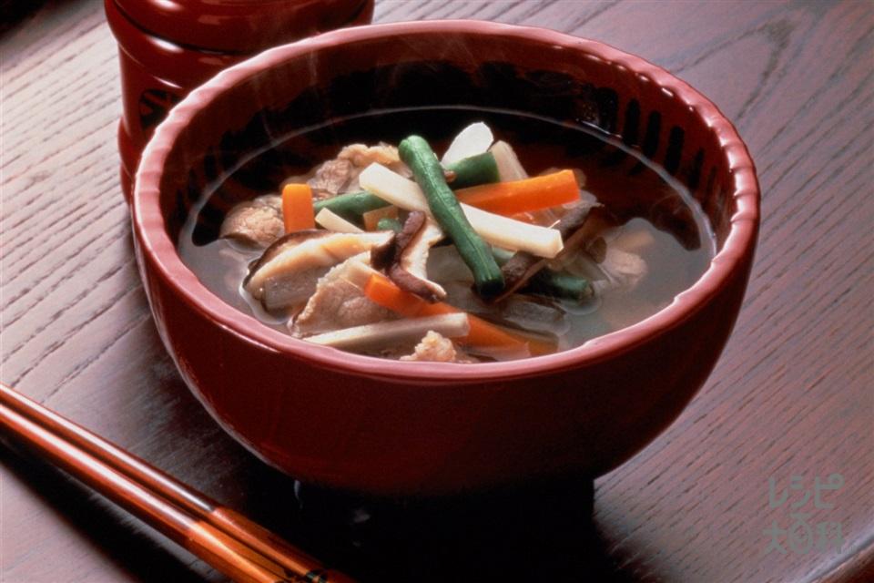 野菜のお吸いもの(豚バラ薄切り肉+大根を使ったレシピ)