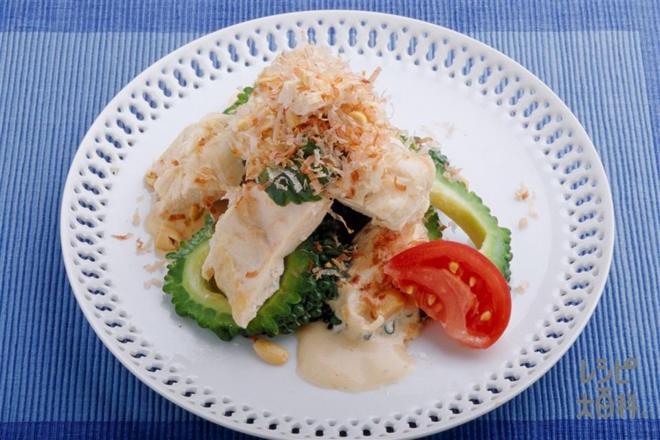 蒸し鶏とゴーヤのマヨネーズのサラダ(鶏むね肉+ゴーヤを使ったレシピ)