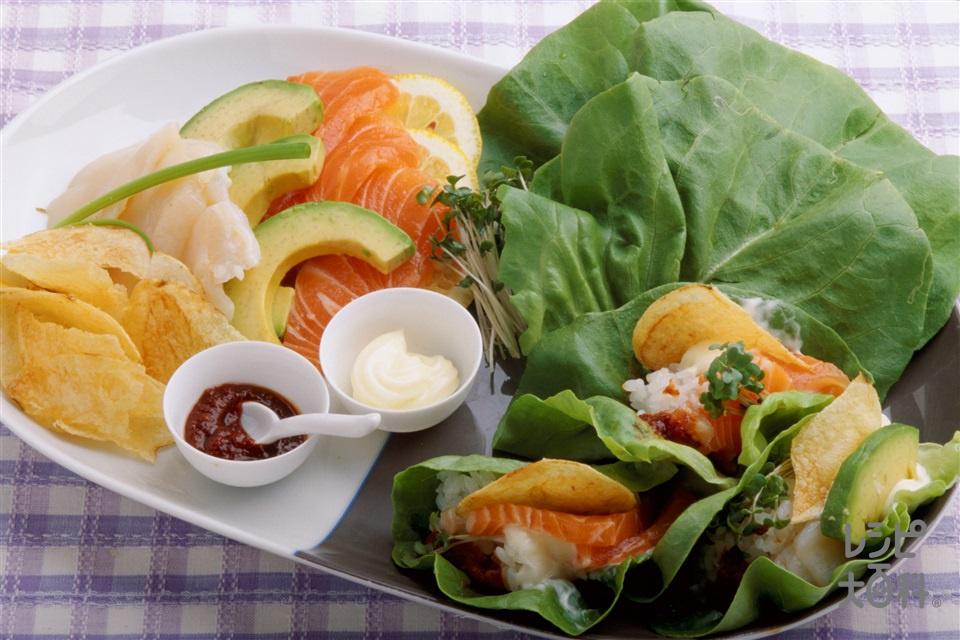 手巻き菜寿司(ご飯+サーモン(刺身)を使ったレシピ)