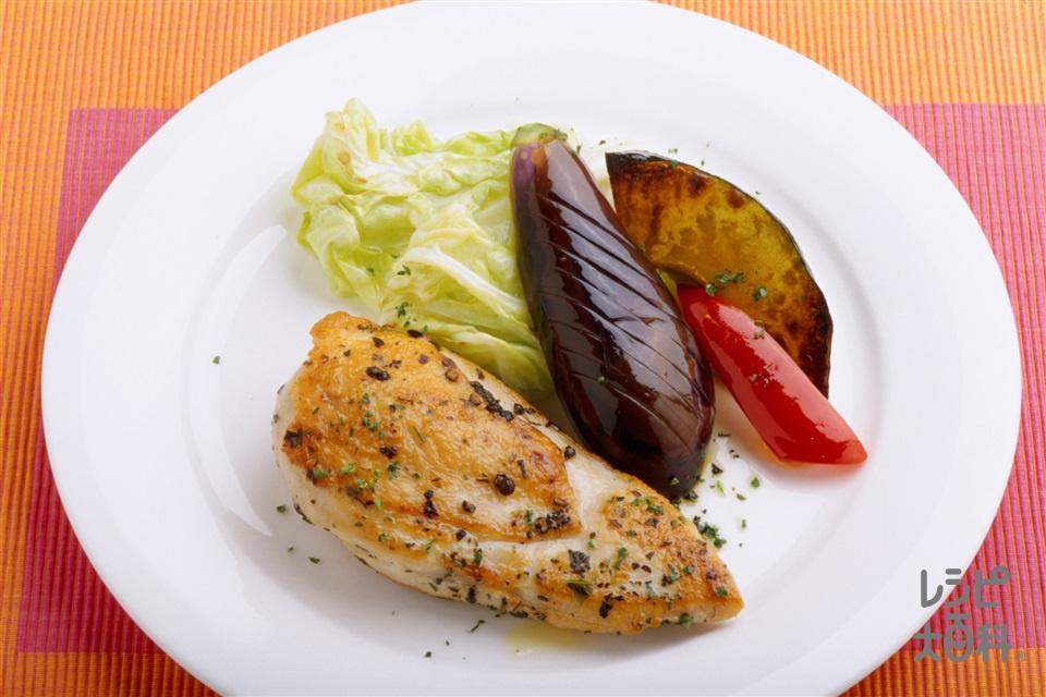 鶏肉のバジル風味スパイシー焼き(鶏むね肉+キャベツを使ったレシピ)