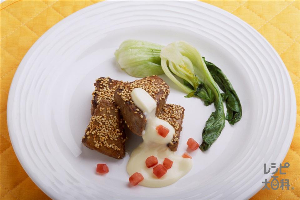 まぐろのウスターソースステーキ オリーブマヨネーズ添え(まぐろ+チンゲン菜を使ったレシピ)