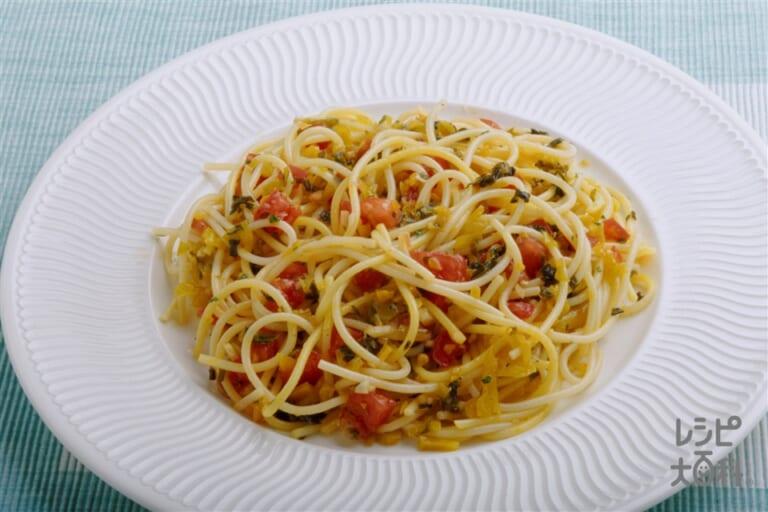 トマトとにんにく、高菜の冷製スパゲッティ