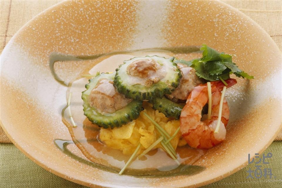 ゴーヤの詰めもの 「ほんだし」ソース(ゴーヤ+豚ひき肉を使ったレシピ)