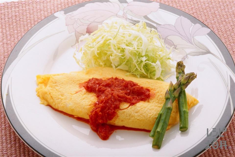 簡単オムレツ 赤ピーマンソース(卵+パプリカ(赤)を使ったレシピ)