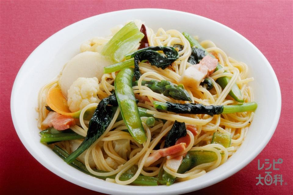 いろいろ野菜のパスタ(スパゲッティ+かぶを使ったレシピ)