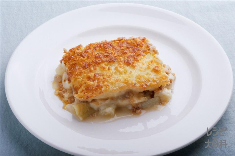ねぎとひき肉のポテトグラタン(じゃがいも+A牛乳を使ったレシピ)