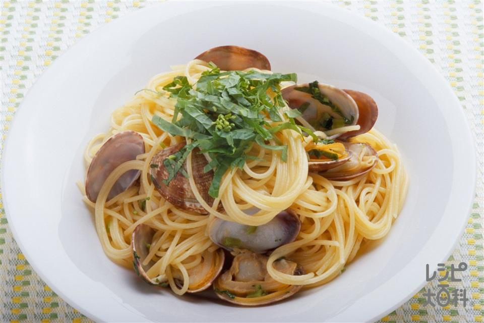 わさび菜とあさりのパスタ(スパゲッティ+あさりを使ったレシピ)