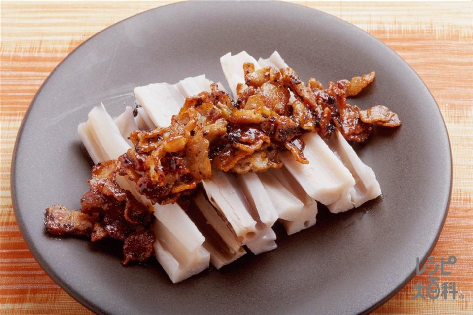 れんこんの豆チ醤ソースかけ(れんこん+豚バラ薄切り肉を使ったレシピ)