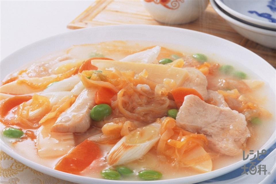 くらげとたけのこ、枝豆のトロミ煮(塩くらげ+ゆでたけのこを使ったレシピ)