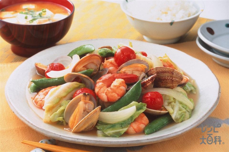 キャベツとあさり炒め(あさり(殻つき)+えびを使ったレシピ)
