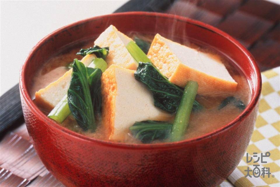 小松菜 厚 揚げ 豚肉