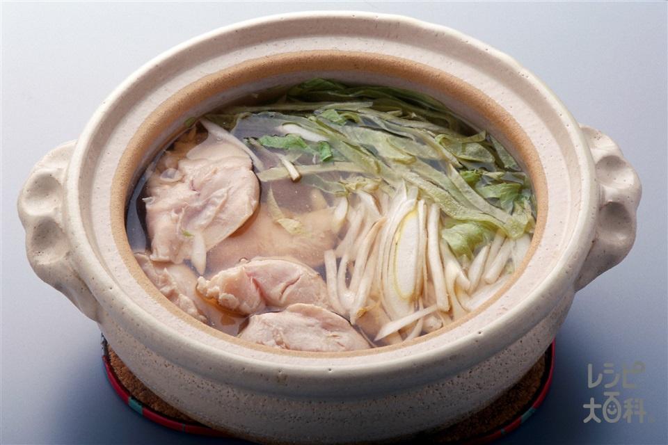 ささ身のあっさり鍋(鶏ささ身+「瀬戸のほんじお」を使ったレシピ)