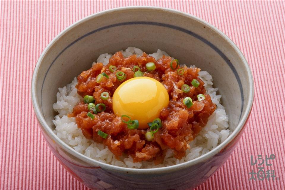まぐろのユッケ丼(まぐろ+ご飯を使ったレシピ)