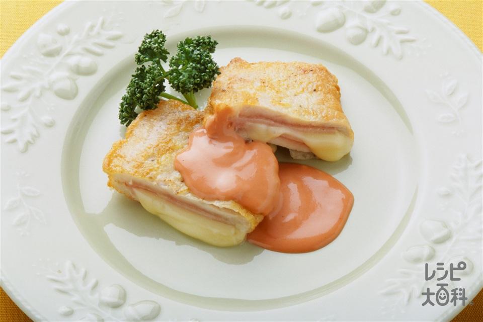 豚肉のピカタサンド(豚ロースしょうが焼き用肉+ロースハムを使ったレシピ)