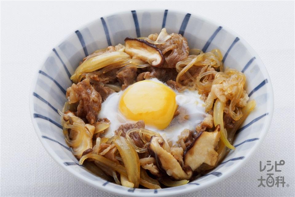牛肉と卵のすきやき風(牛薄切り肉+玉ねぎを使ったレシピ)