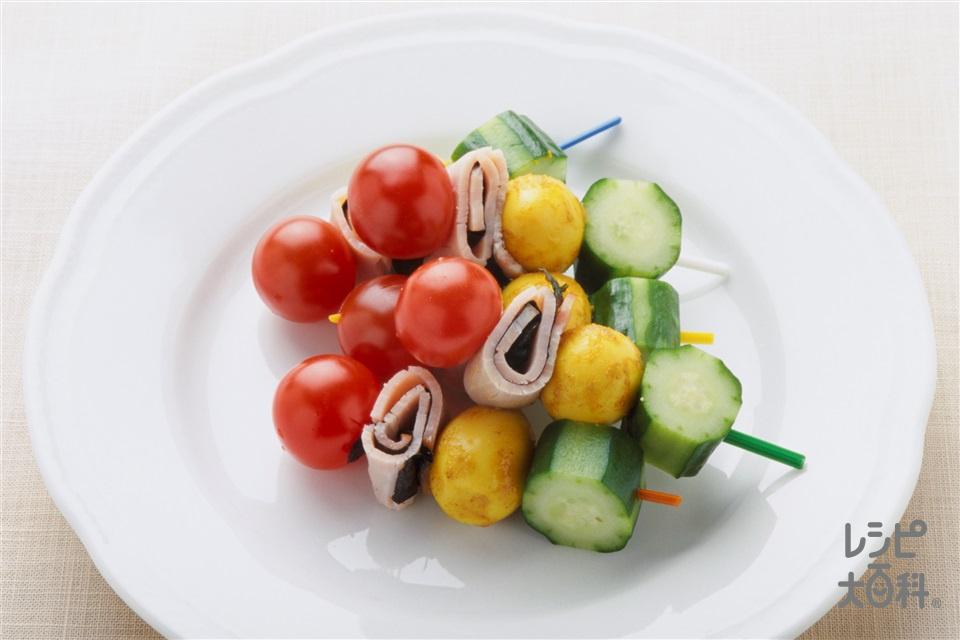 うずらの卵のカレー煮(きゅうり+ミニトマトを使ったレシピ)