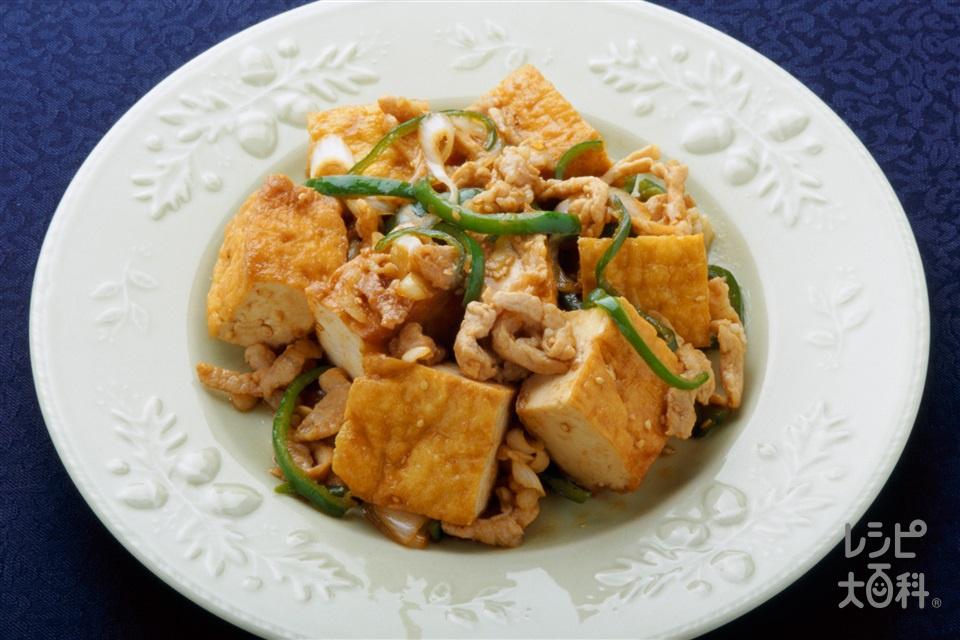 厚揚げと豚肉のピリ辛炒め(厚揚げ+豚ロース薄切り肉を使ったレシピ)