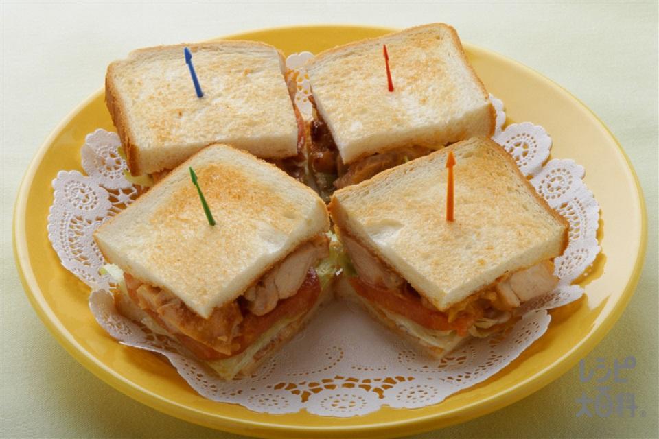 チャイニーズサンドイッチ(食パン8枚切り+鶏もも肉を使ったレシピ)