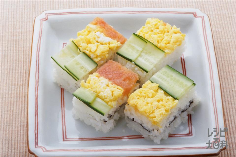 箱ずし(炊きたてご飯+からし明太子を使ったレシピ)