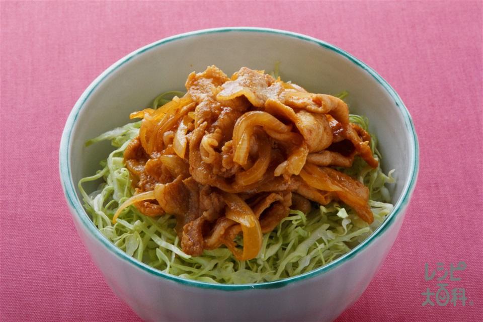 しょうが焼きピリ辛丼(ご飯+豚薄切り肉を使ったレシピ)